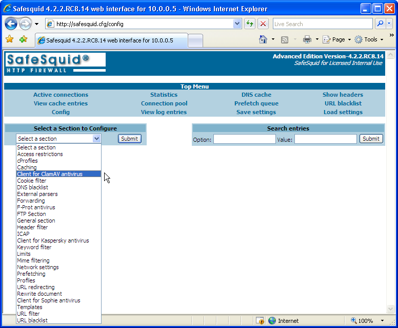 Web Filtering Proxy Interface Screen-Shot - Config Option