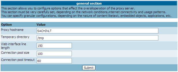 Web Filter Proxy Interface Screen-Shot - General Section