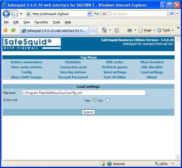 Web Filter Proxy Interface Screen-Shot - Save Settings