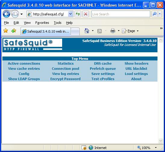 SafeSquid Interface - Web Filter Proxy